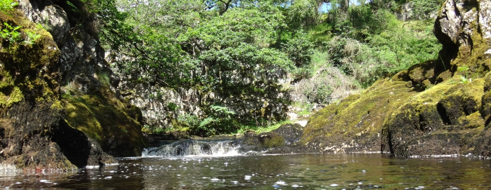Wild swimming downstream from Beezley Falls