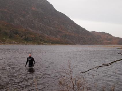 Wading out of Llyn Cwm Bychan